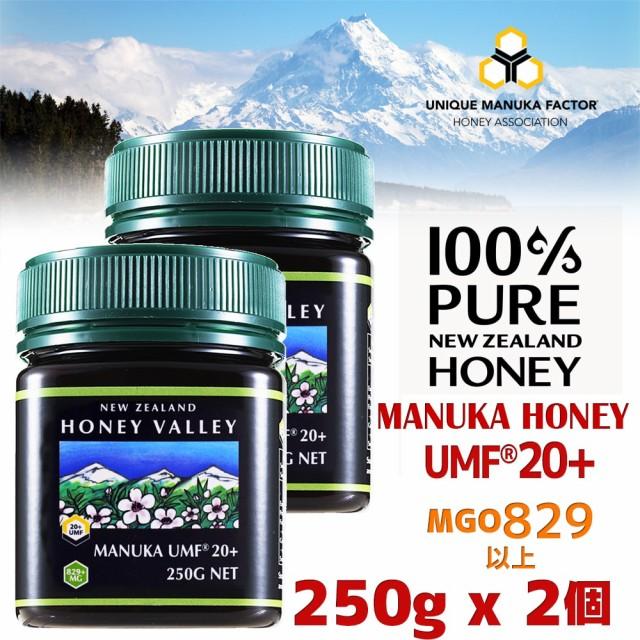 【送料無料】マヌカハニー UMF20+ 250g 2個セット 天然蜂蜜 ハニーバレー MGO829以上 はちみつ