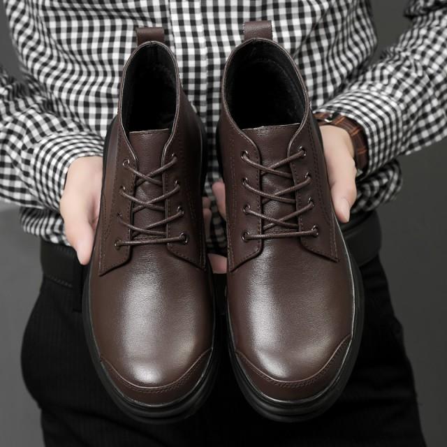 革靴 ビジネスシューズ 冬着 裏起毛 暖か 保温 Uチップ アウトドア ミドルカット ビジネス フォーマル オフィス ひも 防滑ソール