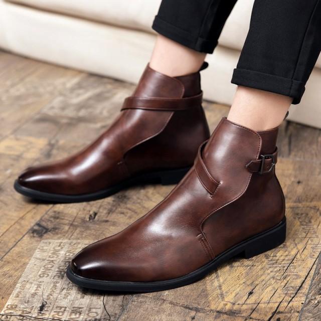 革靴 メンズ ビジネス 紐なし ベルト 通勤靴 ビジネス フォーマル オフィス ハイカット メンズ プレーントゥ アウトドア 紳士靴 大人