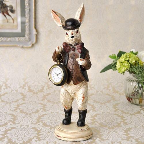 ハットラビットクロック 【ウサギ うさぎ 時計 オブジェ】【バロック アンティーク クラシカル】【薔薇雑貨 薔薇食器 ローズ小