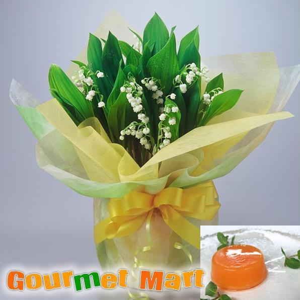 早割 (4月10日まで)送料無料!母の日ギフト!すずらん鉢植え(鉢花)と夕張メロンピュアゼリーセット!母の日定番のお花をラッピングしてお