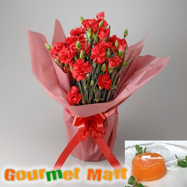 母の日!カーネーション5号鉢植え(鉢花)&夕張メロンピュアゼリーをラッピングしてお届けいたします!