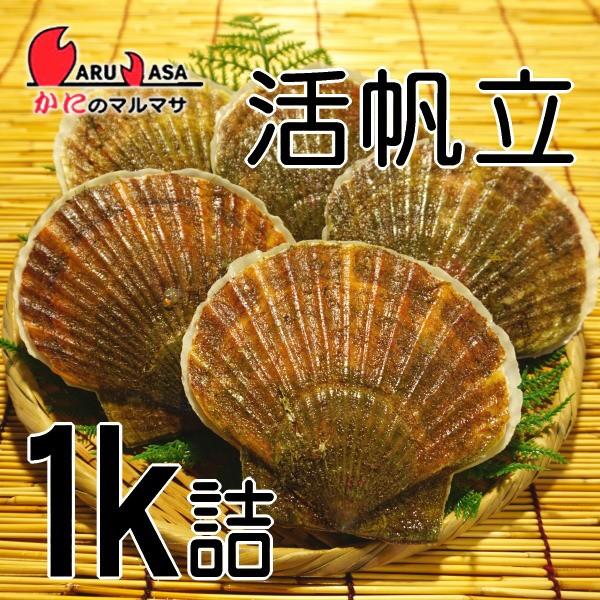 かにのマルマサ 贈り物 ギフト ほたて【北海道産 冷蔵 活ホタテ貝1kg詰め合わせ】活ほたて貝 活帆立貝 海産物 BBQ バーベキュー