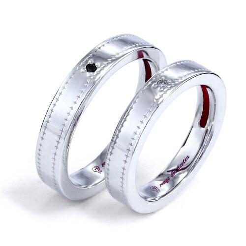 送料込み 運命の赤い糸 ダイヤモンド 結婚指輪 おしゃれ かわいい リングケース ケース シルバーリング ペアリング 指輪 ダイヤ 赤い糸