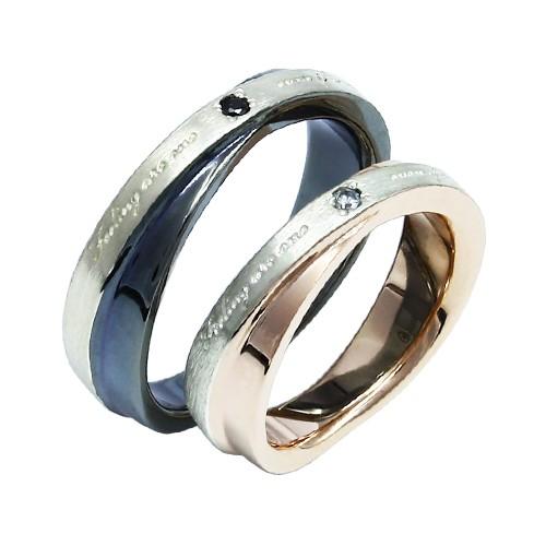 選べるサイズ 上品リング 結婚指輪にもおすすめ おしゃれ かっこいい ネスルリング ペアリング 指輪 リング ダイヤモンド ブラ