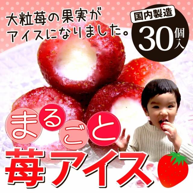 いちご 苺 イチゴ まるごと苺アイス 30粒 大粒の果実がまるごとアイスに♪【送料無料】バレンタイン 父の日 母の日 ご贈答 のし可