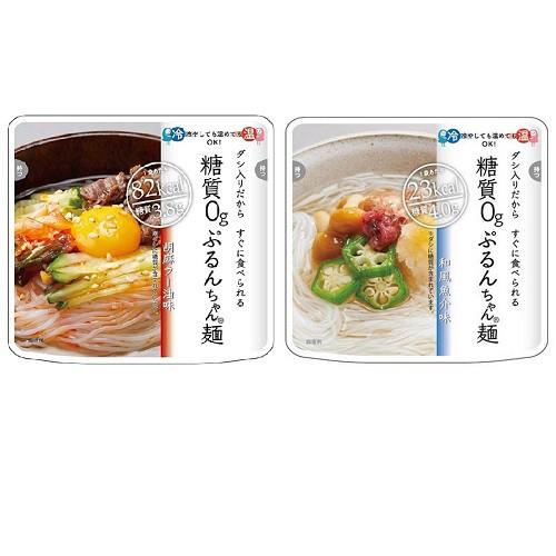 [送料無料][48個]糖質0gぷるんちゃん麺 胡麻ラー油味&和風魚介味 2種セット 賞味期限2021.01.24以降