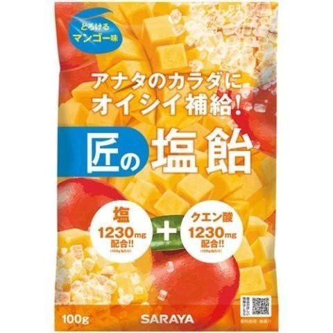サラヤ 匠の塩飴 マンゴー味100g 賞味期限2021.04.19