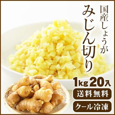 【送料無料】国産冷凍生姜 みじん 1Kg20入【他商品同梱不可】