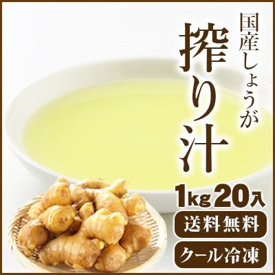 【送料無料】国産冷凍生姜汁 1Kg20入 【他商品同梱不可】