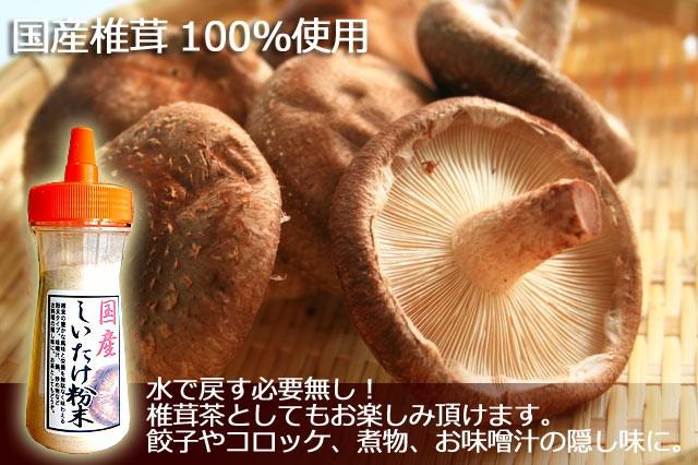 しいたけ粉末 ボトルタイプ 40g マッシュ キノコ 椎茸 シイタケ パウダー 国産 無添加 無着色