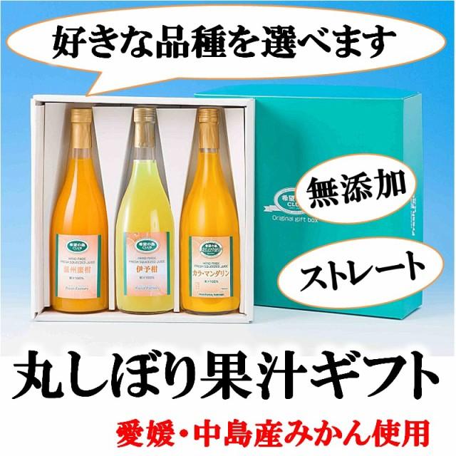 希望の島 丸しぼり果汁 720ml 3本ギフト みかんジュース オレンジジュース 無添加 ストレート 果汁100% 愛媛 中島産