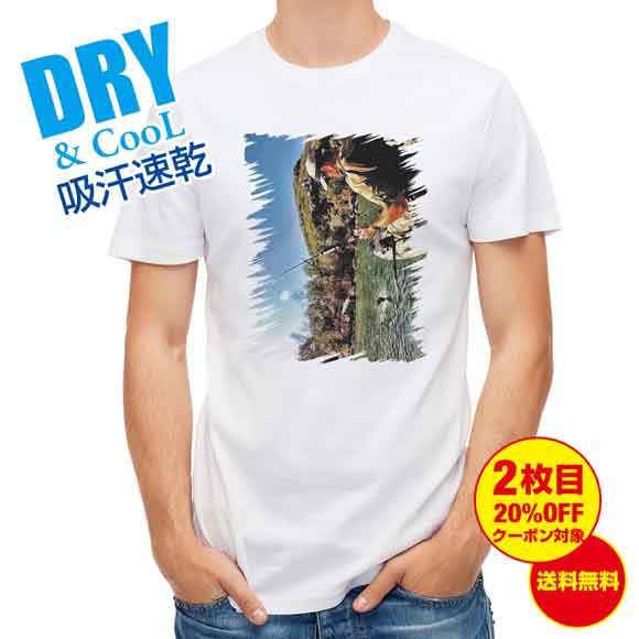 釣り Tシャツ アウトドア ジャンプするバス 釣り 魚 ルアー T シャツ メンズ 半袖 ロゴ 文字 春 夏 秋 インナー 安い 面白い 大きいサイ