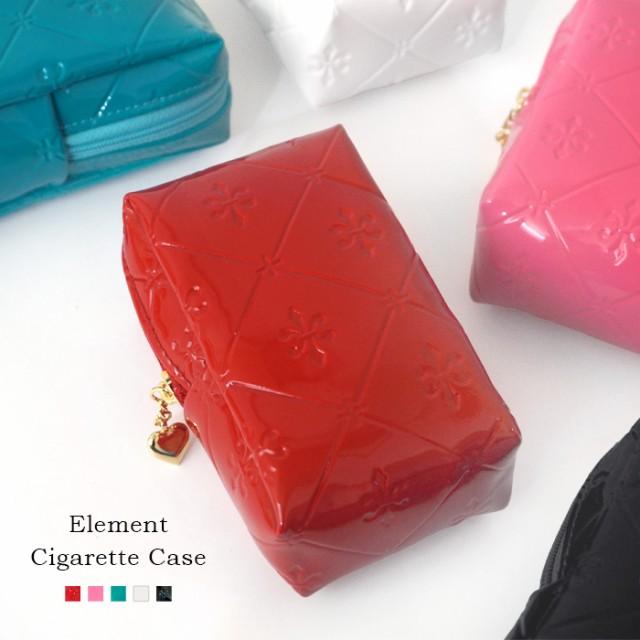 sa-cigarett-182 シガレットケース ユリ型押し 可愛い おしゃれ シンプル タバコ デジカメ ケース エナメル 大人 煙草 化粧 コスメプレゼ