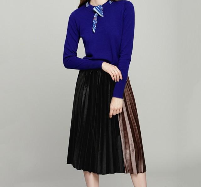 シルク ベルベット スカート プリーツ スカート ワード スカート #0564