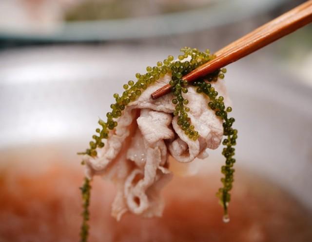 【沖縄応援】海ぶどうとあぐー豚の「おきなわ鍋しゃぶ」7品(ミーバイ、もずく、沖縄そば、他)3〜4人前 ※冷凍 送料無料