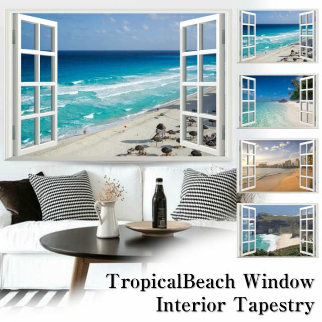 海 インテリア タペストリー 海 夏 南国 風景 ビーチ ハワイ 窓 だまし絵 西海岸 アメリカ きれい さわやか 癒し おしゃれ ポスター 大き