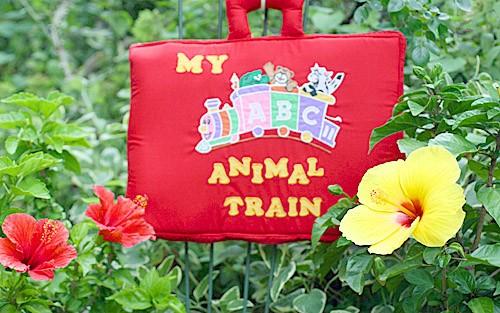 布絵本 MY ABC ANIMAL TRAIN レッド 刺しゅう入りABC英語バッグ