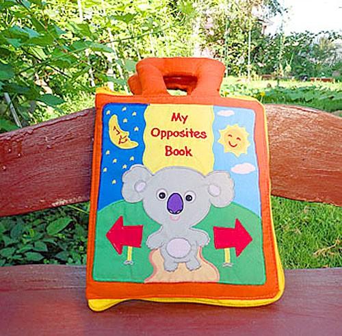 布絵本 My Opposites Bookマイオポヅィトブック コアラの反対語ブック 刺しゅう英語版 英語教育 幼児教育
