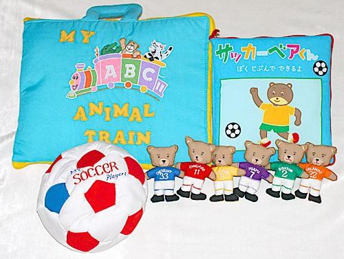 布絵本 サッカーベアくん ぼくじぶんでできるよとMY ABC ANIMAL TRAIN ブルーとおまけ付きサッカープレイヤーズ 知能開発レッスンブック