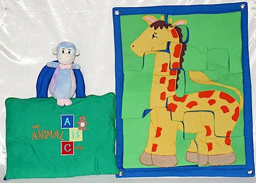 布絵本 布の壁掛けジグソーパズルきりんとMy ABC ANIMAL bagとおまけ付きぬいぐるみラトルモンキー 知能開発ブック 幼児教育 英語教