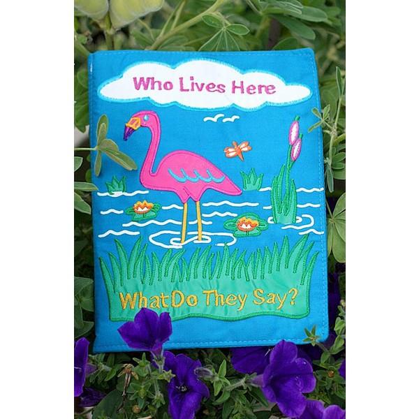 布絵本 Who Lives Here What Do They Say?  刺しゅう英語布絵本  英語教育