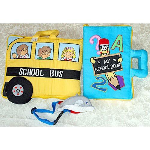 布絵本MY ABC TRAVEL BAG/SCHOOL BUS MY SCHOOL BOOK英語刺しゅう版 おまけ付き ドルフィンプレイ ラーンギフトセット