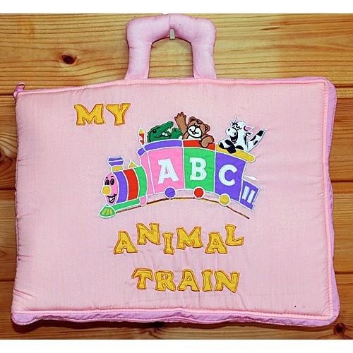 布絵本 知育絵本 知能開発レッスンブック ABC MY ABC ANIMAL TRAIN ピンク刺しゅう入りABC英語バッグ 英語教育 幼児教育 送料無