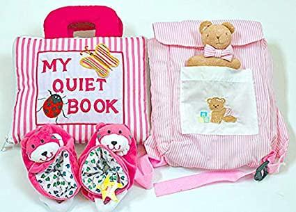 布絵本 MY QUIET BOOK ピンクストライプ ベビーズリュック クローリングベア おまけ付きラトル入りルームシューズ ハッピーギフトセ