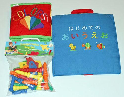 布絵本 はじめてのあいうえおとCOLORS SHAPESとおまけ付きローリー知能開発教育玩具 スターターギフトセット