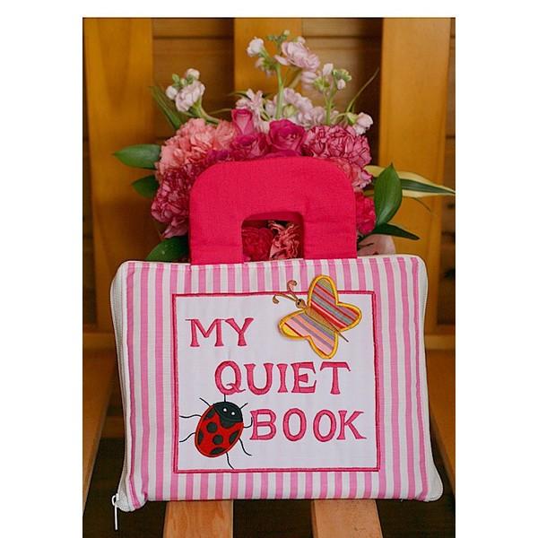 布絵本 知育絵本 知能開発レッスンブック MY QUIET BOOK NEW ENGLISH VERSION ピンクストライプ 英語刺しゅう版 英語教育 幼児教育