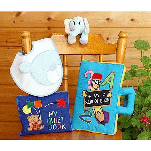 ギフトセット布絵本MY SCHOOL BOOK MY QUIET BOOK ベアブルー おまけ付きおしゃれなビブ/ぬいぐるみ ファンタイムギフトセット 送料無料