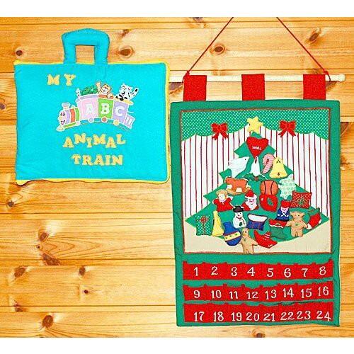 ギフトセット 布のアドベント カレンダー 壁掛けクリスマスツリーオーナメント24個 MY ABC ANIMAL TRAIN ブルー