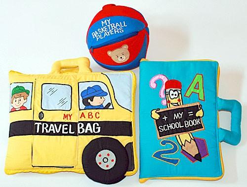 布絵本 MY ABC TRAVEL BAG/SCHOOL BUS MY SCHOOL BOOK英語刺しゅう版 おまけ付き バスケットプレイヤーズ プレイ ラーンギフトセット