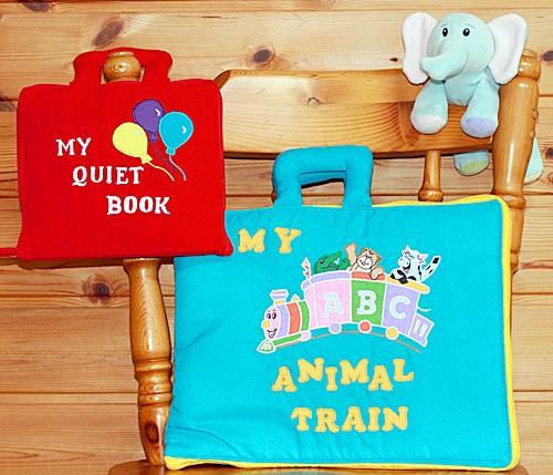 布絵本 MY QUIET BOOKバルーン英語刺しゅう版 MY ABC ANIMAL TRAIN ブルーとおまけ付きふわふわぬいぐるみ ファンタイム・プレイとラー