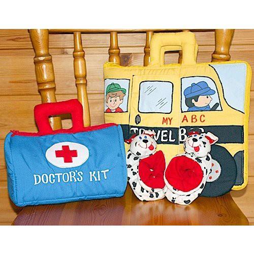 布絵本MY ABC TRAVEL BAG/SCHOOL BUS 布おもちゃDOCTORS KIT おまけ付きルームシューズ プレイ ラーンギフトセット