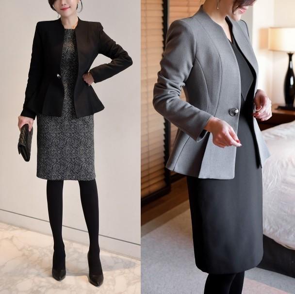 春新作!ノーカラージャケット ぺプラム フォーマル オフィス 高級感 韓国ファッション