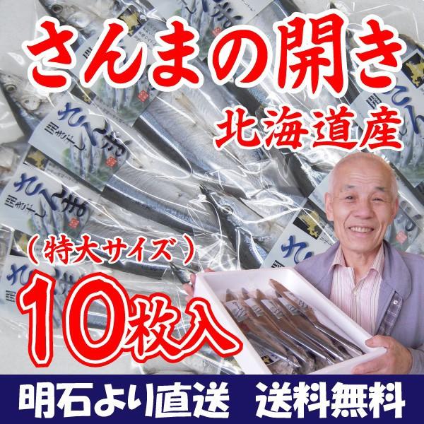 北海道産 特大さんまの開き干し10枚セット 取り寄せ 干物セット プレゼント 贈答 ギフト 父の日(送料無料)
