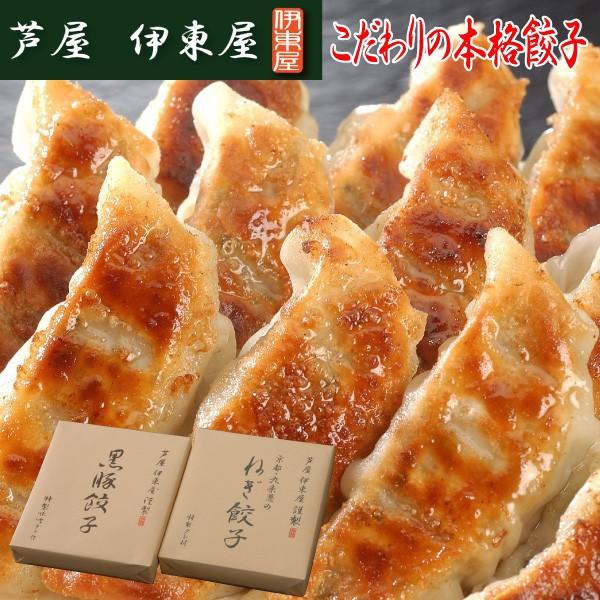芦屋 伊東屋謹製 黒豚餃子と九条葱餃子2折セット 贈答 ギフト 父の日 冷凍食品 揚げ物(送料無料)