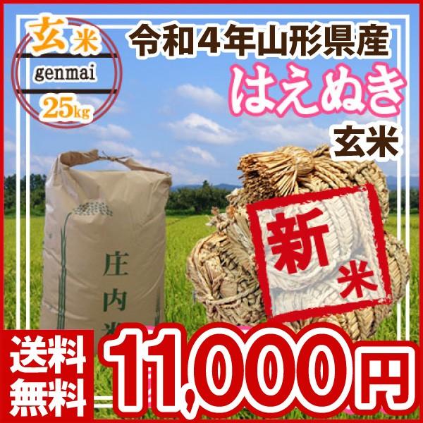 令和元年 山形県産 はえぬき 玄米 25kg(5kg×5)(送料無料)