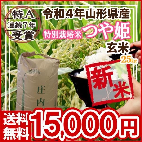 令和元年 山形県産 特別栽培米 つや姫 玄米 25kg(5kg×5)(送料無料)
