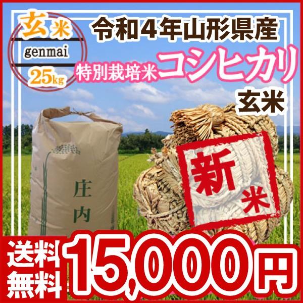 令和元年 山形県産 特別栽培米 コシヒカリ 玄米 25kg(5kg×5)(送料無料)