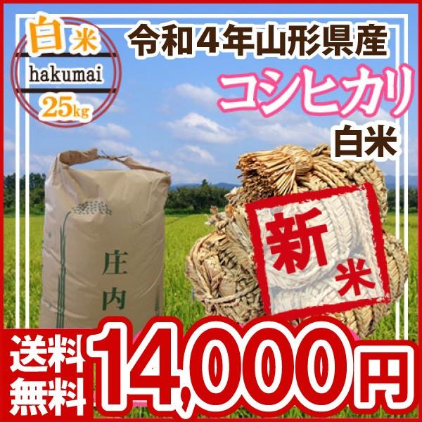 令和2年 山形県産 コシヒカリ 白米 精米済 25kg(5kg×5)(送料無料)
