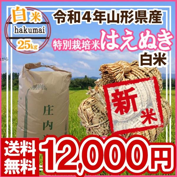 令和元年 山形県産 特別栽培米 はえぬき 白米 精米済 25kg(5kg×5)(送料無料)