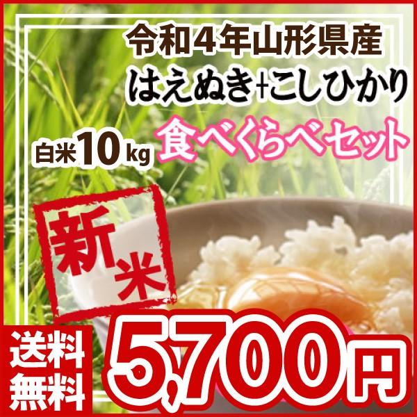 令和元年 山形県産 はえぬき5kg・コシヒカリ5kgセット 白米 精米済(送料無料)