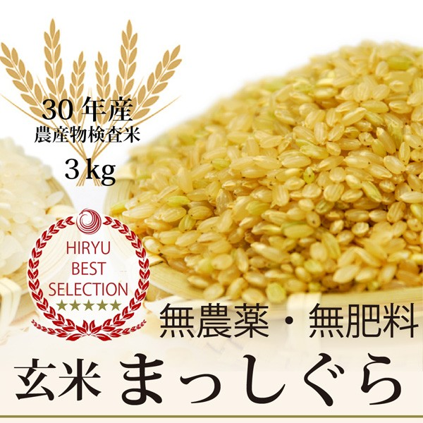 超希少! 木村秋則式自然栽培まっしぐら玄米 3kg 青森産 無農薬・無肥料 放射性物質検査済