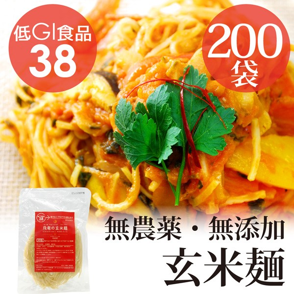 HIRYUの玄米麺 100g×1箱(200pc) 自然栽培(無農薬・無肥料)コシヒカリ使用