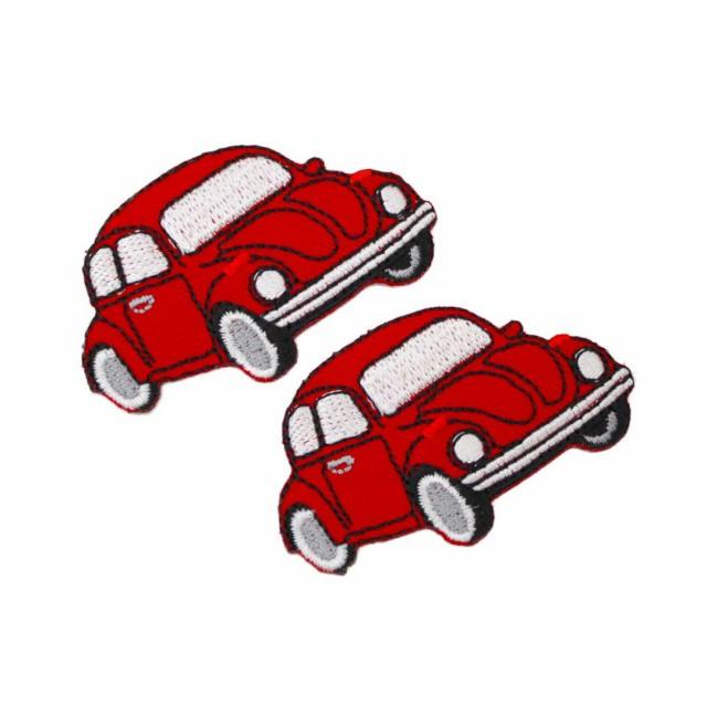 ワッペン アイロン ミニサイズ 2枚セット ワーゲンビートル くるま 車 車体 レッド 2P アップリケ わっぺん 小さい アイロンで簡単貼り付