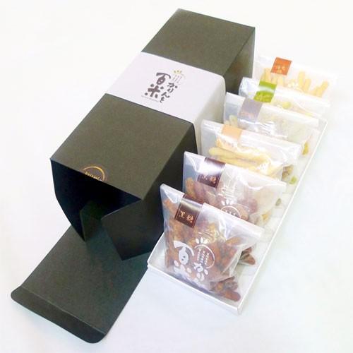 庄内米粉かりんとう かりんと百米(ひゃくべい)6個化粧箱入セット(黒糖2袋、ピーナツ、胡麻、庄内青きな粉、海老塩)60g×6袋入ギフト