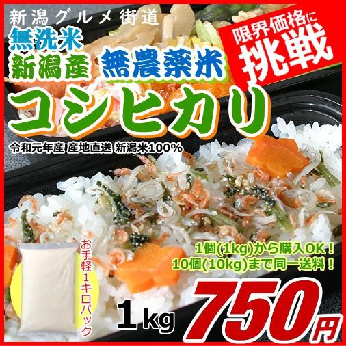 コシヒカリ 1キロ 無農薬米 無洗米 新米 新潟米 1kg 令和元年産 お米 新潟産 産地直送 米 コメ ポイント消化
